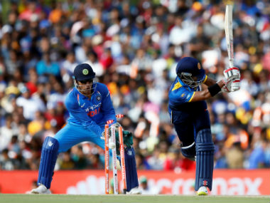 Kusal Mendis gets bowled in the 1st ODI between Sri Lanka and India in Dambulla. Reuters
