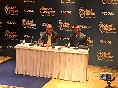 Cricket South Africa chief executive Haroon Lorgat and T20 Global League director Russell Adams at the match fixture announcement. Image courtesy: Twitter @T20GL_