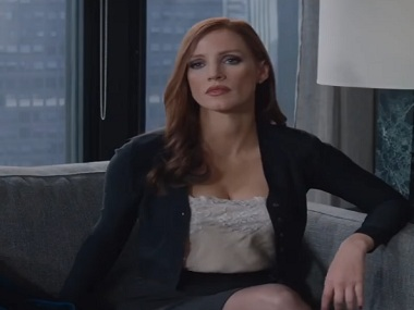 Jessica Chastain in Aaron Sorkin's upcoming film, Molly's Game. Screen grab from YouTube.