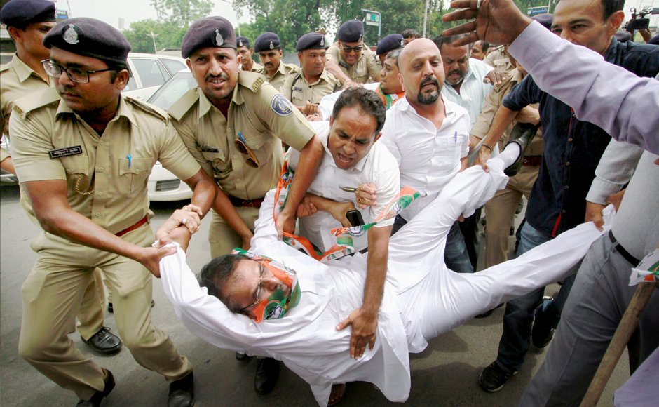 Congress supporters launch protests condemning attack on Rahul Gandhi's convoy in Gujarat