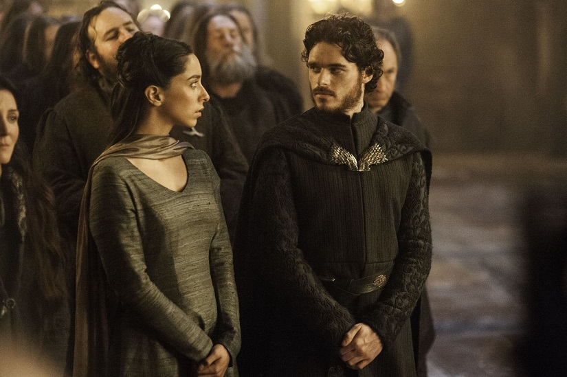 Robb and Talisa. Rhaegar and Lyanna. Still from Game of Thrones. Image via HBO