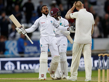 Shai Hope celebrates after West Indies'win over England in the second Test. Reuters