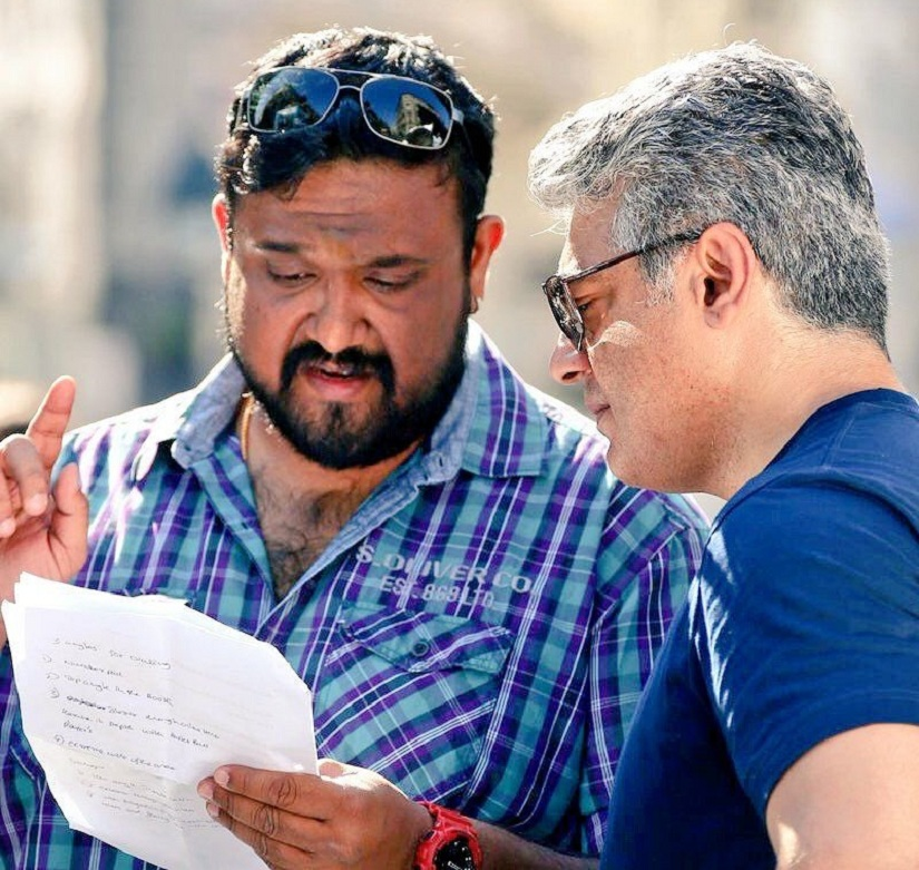 Siva (L) with Ajith on the sets of Vivegam