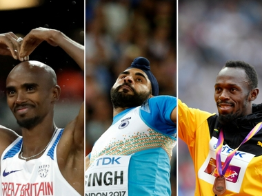 IAAF World Athletics Championships 2017 Usain Bolt Mo Farah Davinder Singh in action on Day 9