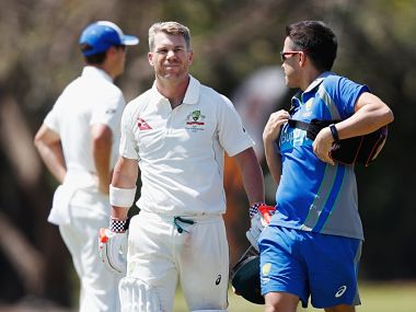 Australia's David Warner retires hurt after being struck on helmet during intra-squad match