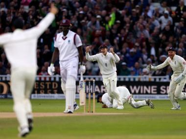 West Indies captain Jason Holder is dismissed by England Cricket team, in their first Test match. Reuters