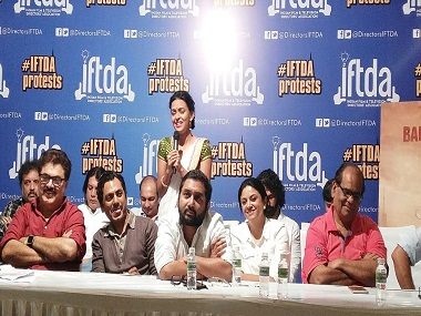 A still from the press conference organised by the IFTDA