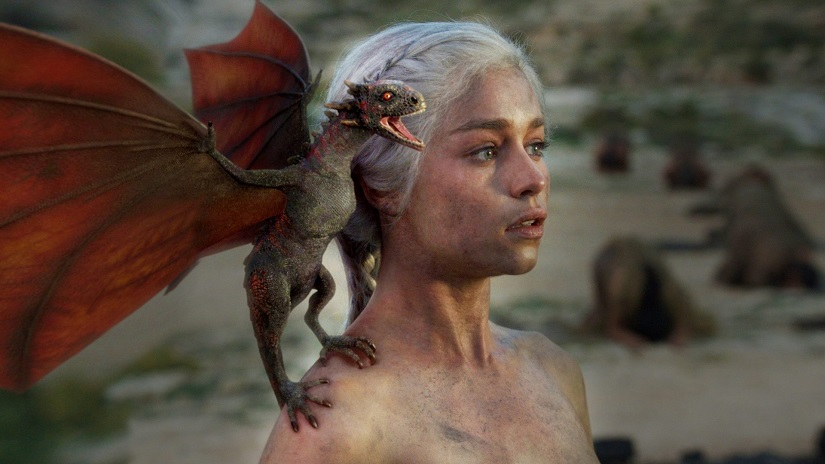 Dany's dragons are born. Still from Game of Thrones. Image via HBO