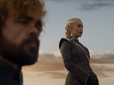 Tyrion and Dany in a still from Game of Thrones season 7 episode 5. YouTube screengrab