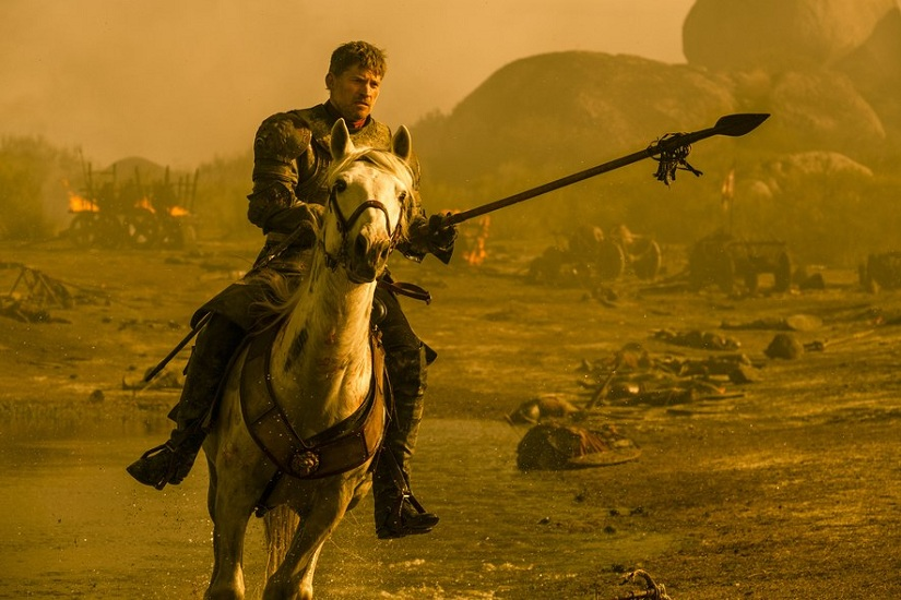 Jaime at the Battle of Tumbleton aka the 'Loot Train Battle'. Image via HBO/Still from Game of Thrones season 7 episode 4