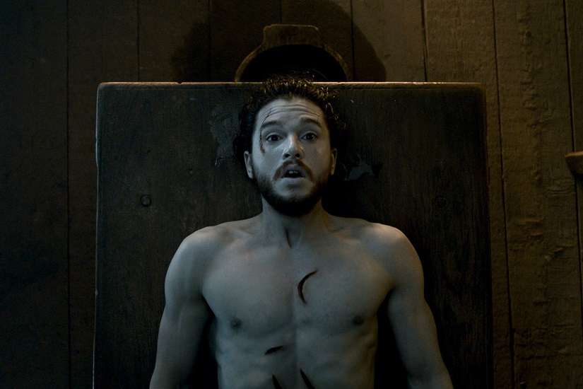 Jon is brought back to life. Still from Game of Thrones. Image via HBO