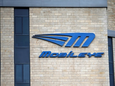 The logo of driverless technology firm Mobileye. Reuters