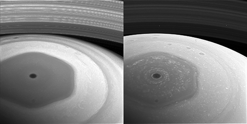 The hexagonal jet streams in the northern atmosphere of Saturn. Image: NASA.