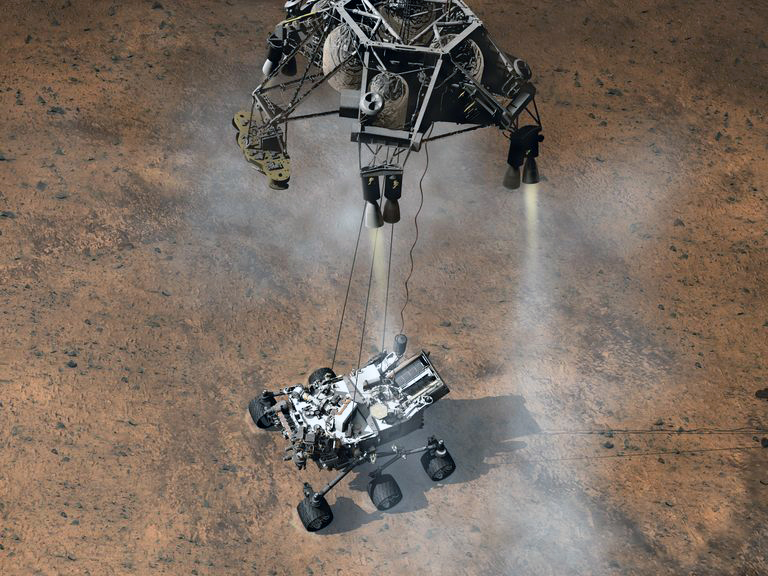 "The ""Sky-Crane"" method used to deploy curiosity. Image: NASA."
