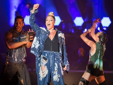 Pink performing at the V Festival. Image from Getty Images.