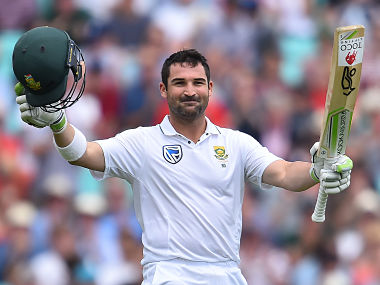 South Africa's Dean Elgar celebrates his century on the final day of the third Test match between England and South Africa at The Oval cricket ground in London on July 31, 2017. / AFP PHOTO / Glyn KIRK / RESTRICTED TO EDITORIAL USE. NO ASSOCIATION WITH DIRECT COMPETITOR OF SPONSOR, PARTNER, OR SUPPLIER OF THE ECB