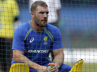 Australian player Aaron Finch rests during a practice session in Indore. AP