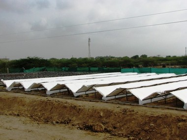A view of the dew harvesting plant at Kothara, Kutch region