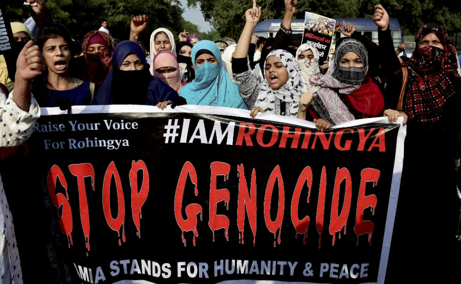 As Rohingya crisis deepens, thousands stage protest outside Myanmar Embassy