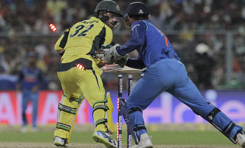 MS Dhoni pulls off an exceptional stumping to stumped Australia's Glenn Maxwell of Yuzvendra Chahal's bowling. AP