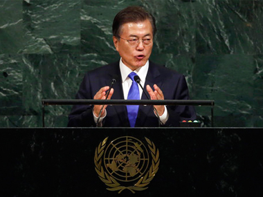 South Korea 'not seeking North's collapse' says President Moon Jae-In, urges Pyongyang to abandon nukes