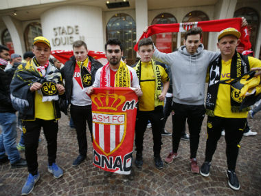 Monaco and Borussia Dortmund fans outside the stadium before the match. Reuters