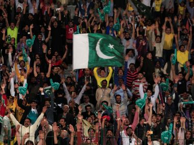 File image of Pakistan fans cheering during a game. REUTERS