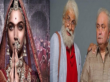 Deepika Padukone in a still from Padmavati and Amitabh Bachchan, Rishi Kapoor in a still from 102 Not Out. Twitter