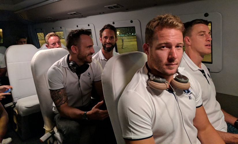 David Miller Morne Morkel Faf du Plessis and Grant Elliot as World XI arrives in Pakistan. Image courtesy Twitter @TheRealPCB