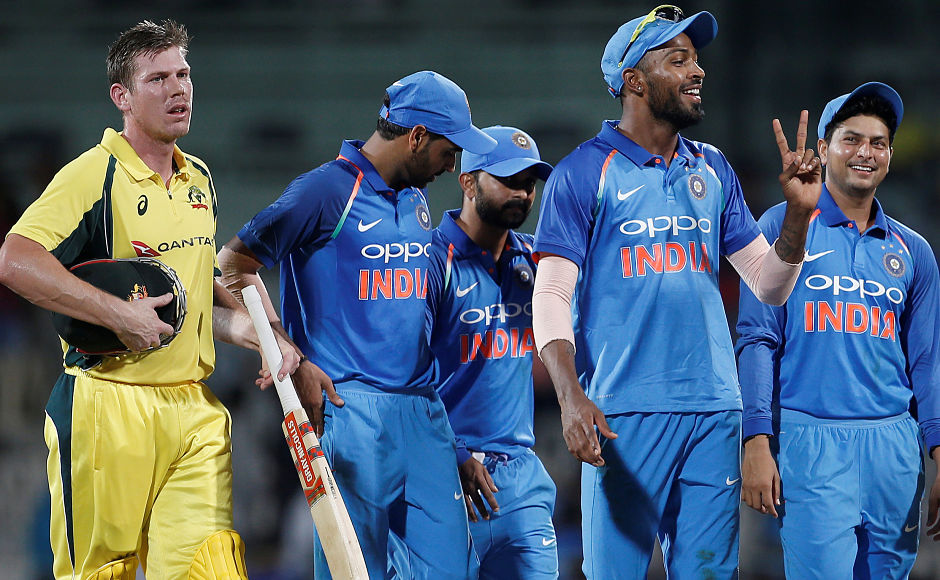 Spinners hold their own after Hardik Pandya, MS Dhoni's rescue act to trump Australia by 26 runs in the 1st ODI
