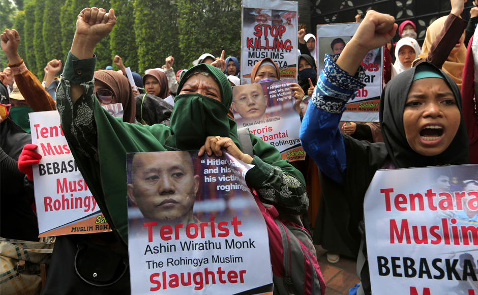 Indonesian Muslims rally to condemn persecution of Rohingya community in Myanmar