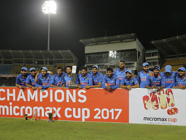 Members of Indian cricket team pose with the winners trophy after their win over Sri Lanka in their fifth and last one-day international cricket match in Colombo, Sri Lanka, Sunday, Sept. 3, 2017. Indian won the match by six wickets. (AP Photo/Eranga Jayawardena)