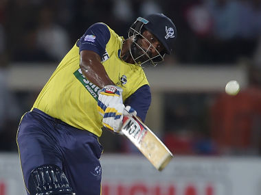 World XI batsman Thisara Perera hits a six during the second Twenty20 against Pakistan. AFP