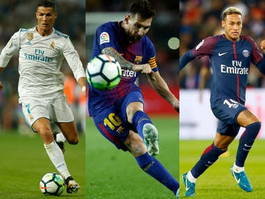 Cristiano Ronaldo, Lionel Messi and Neymar on three-man shortlist for Best FIFA Men's Player Award