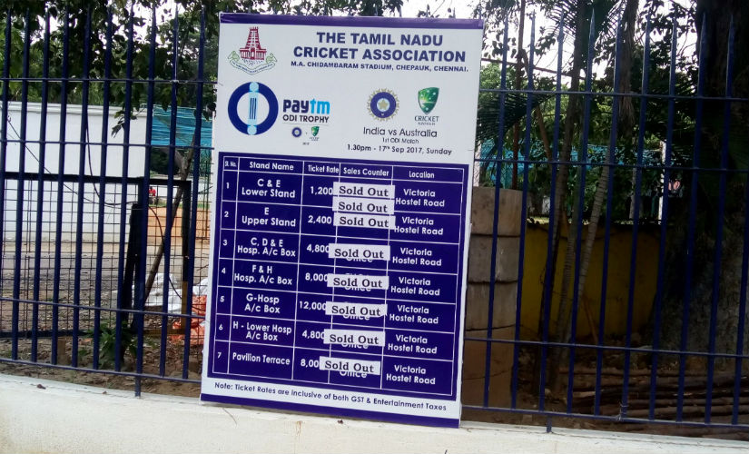 Board in front of the MA Chidambaram Stadium announcing that tickets have been sold out. Image courtesy: Jigar Mehta