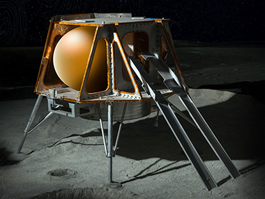 An impression of the TeamIndus spacecraft on the Moon. Image: TeamIndus.