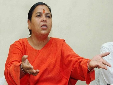Uma Bharti claims Congress 'benefitted' most from Mahatma Gandhi's assassination while RSS suffered