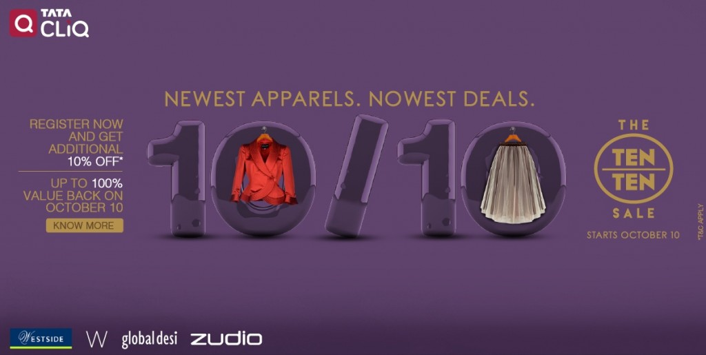1010 Sale Tata CLiQ presents Festive Season with More Than 70 Off on Fashion and Electronics