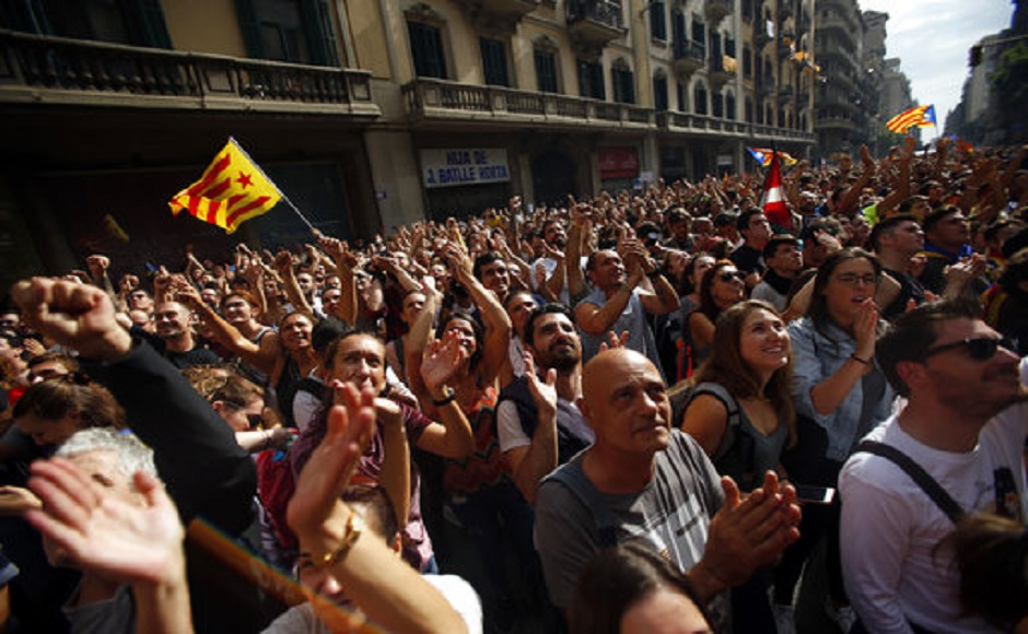 Catalonia holds demonstrations in protest against independence referendum violence