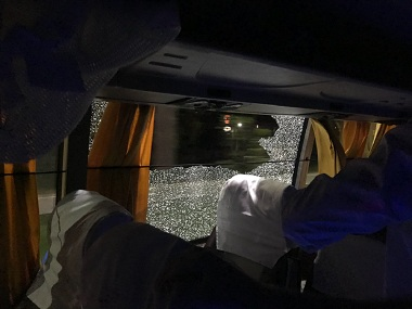 A stone was hurled at the Australian team bus in Guwahati. Courtesy: Twitter/@AaronFinch5
