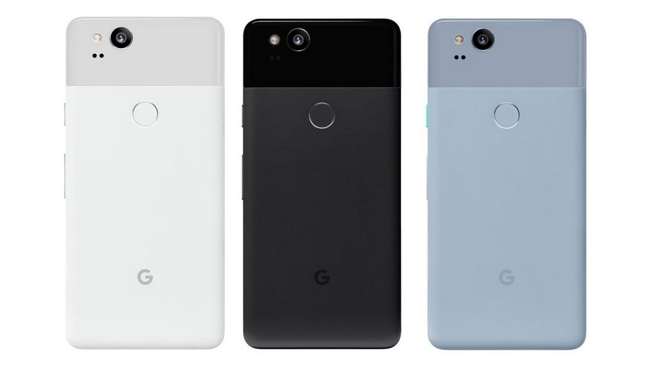 The Google Pixel 2 in white, black and blue. Image: Twitter/@evleaks