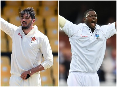 Graeme Cremer and Jason Holder, captain of Zimbabwe and West Indies respectively. AFP