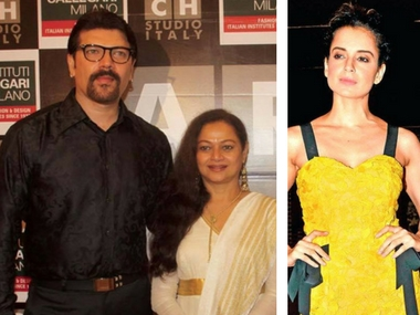 Aditya Pancholi with wife Zarina Wahab (left); Kangana Ranaut. Image courtsy: Facebook