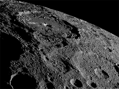 An image of dwarf planet Ceres as captured by NASA's Dawn spacecraft