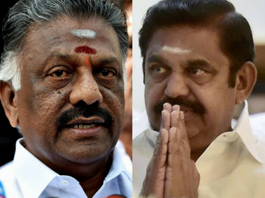 E Palaniswamy and O Panneerselvam reach EC to stake claim over AIADMK's 'two leaves' symbol