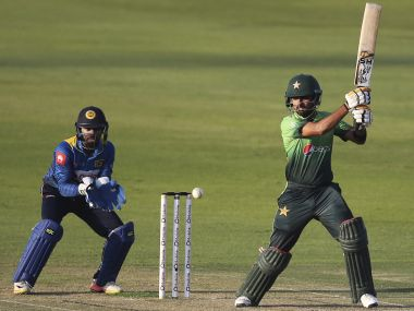 Pakistan's Babar Azam plays a shot during their second ODI match against Sri Lanka. AP