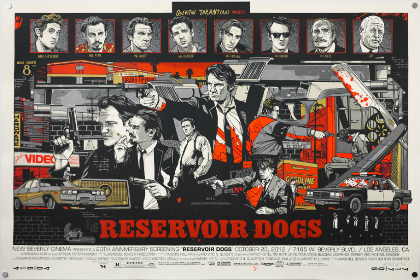 Reservoir Dogs inspired artwork with Tyler Stout's reimagined interpretation of the movie. Mondo