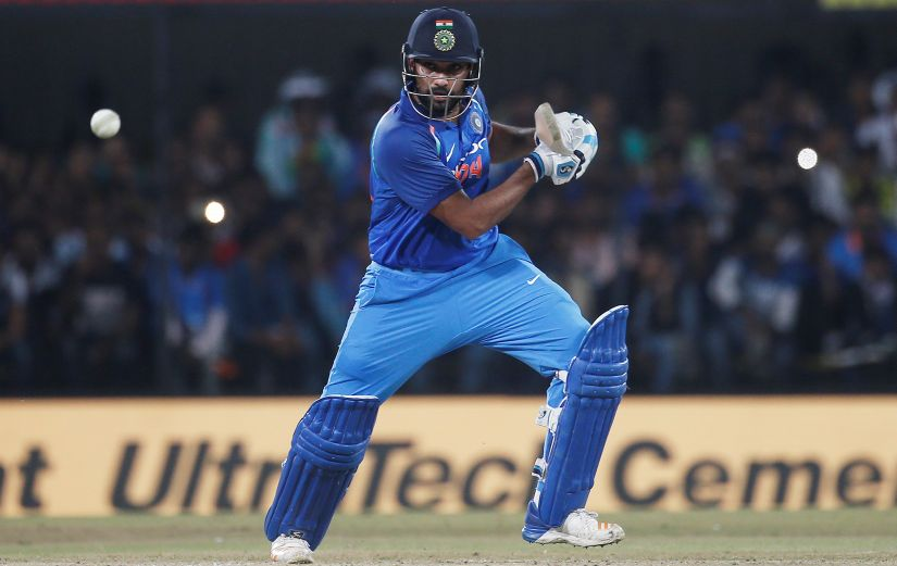 Rohit Sharma plays a shot against Australia during the fifth ODI at Nagpur. Reuters