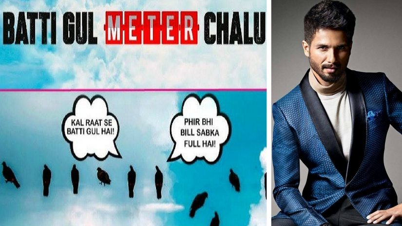Still from the teaser of Batti Gul Meter Chalu (left); Shahid Kapoor (right). Images via Facebook