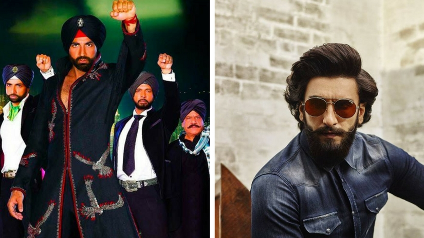 Akshay Kumar in the 2008 film Singh is Kinng (left); Ranveer Singh (right). Images via Facebook